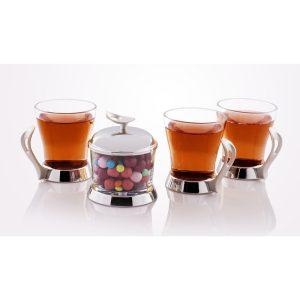 سرویس چایخوری تک استیل مدل لوپ (استیل)