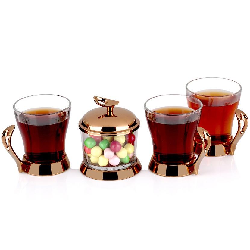 سرویس چایخوری تک استیل مدل لوپ (استیل رزگلد)