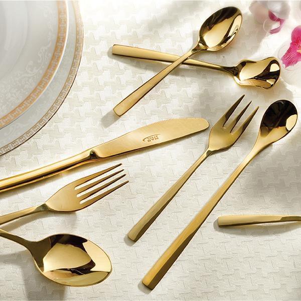 سرویس قاشق و چنگال 12 نفره ناب استیل طرح فلورانس طلایی (57 پارچه)