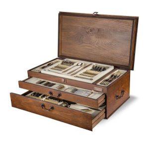 سرویس قاشق و چنگال ۱۲ نفره ناب استیل طرح فلورانس دور طلایی (۱۲۴ پارچه) بعلاوه کنسول چوبی
