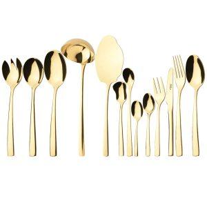 سرویس قاشق و چنگال 18 نفره ناب استیل طرح فلورانس طلایی PVD (116 پارچه)