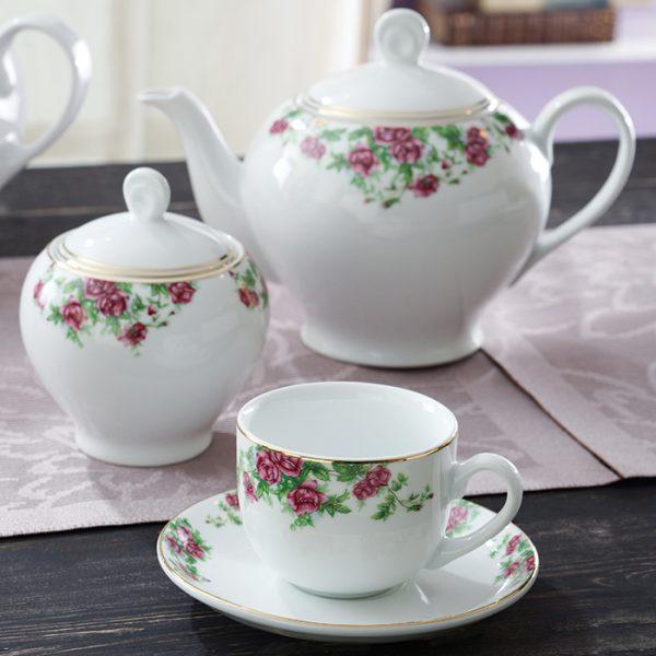 سرویس چینی زرین 6 نفره چای خوری بیدگل (17 پارچه)