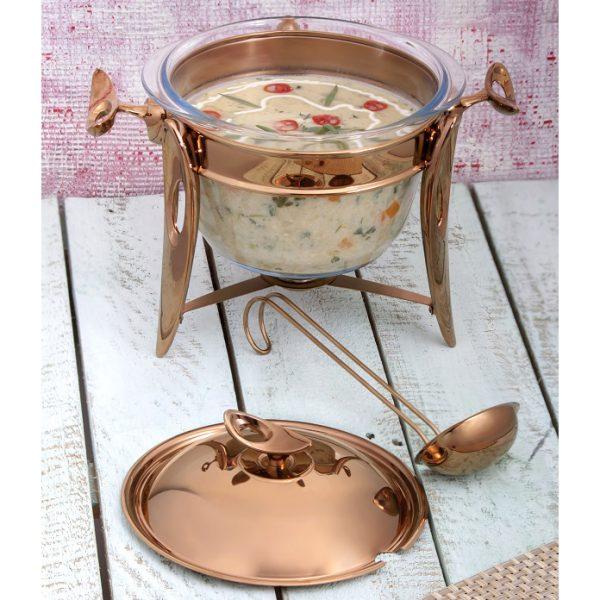 سوفله سوپ خوری بزرگ تک استیل مدل لوپ (استیل رزگلد)