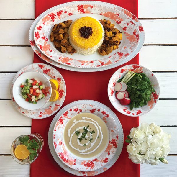 سرویس چینی زرین 6 نفره غذاخوری ملانی (35 پارچه)