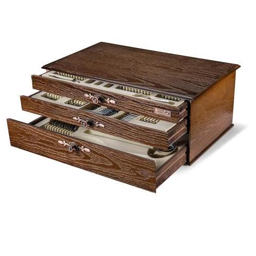 سرویس قاشق و چنگال 18 نفره ناب استیل طرح فلورانس دور طلایی (116 پارچه) بعلاوه کنسول چوبی