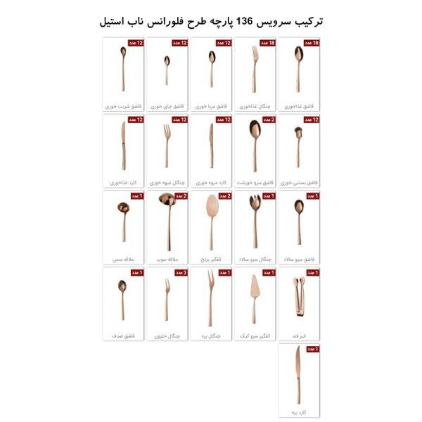 سرویس قاشق و چنگال 18 نفره ناب استیل طرح فلورانس برنزی PVD (136 پارچه)