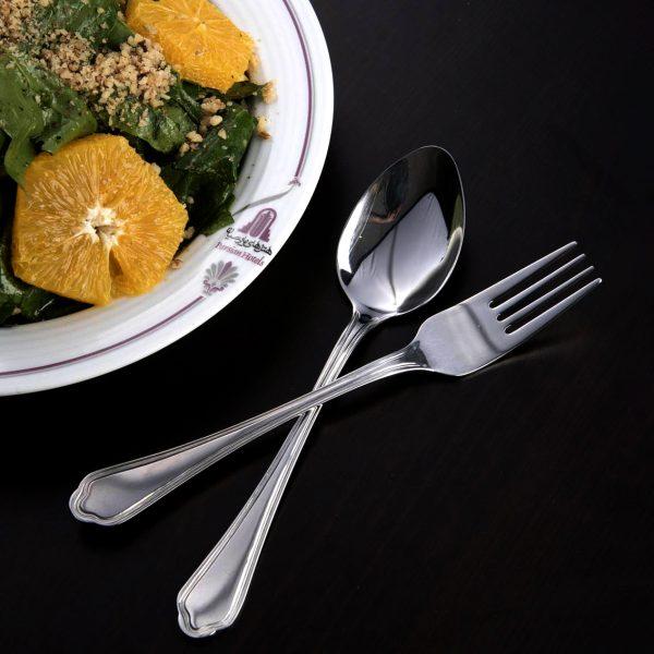 قاشق و چنگال غذاخوری 6 نفره ناب استیل طرح ونیز استیل براق (12 پارچه)
