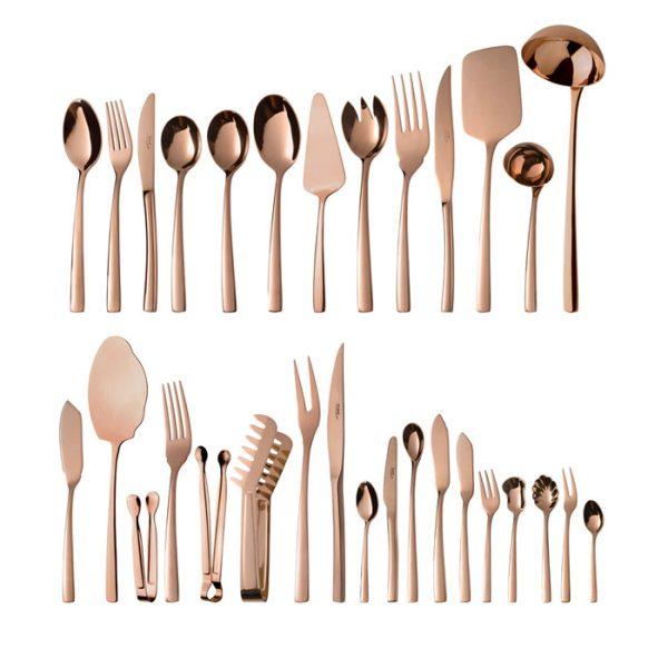 سرویس قاشق و چنگال 24 نفره ناب استیل طرح فلورانس برنزی (158 پارچه) بعلاوه کنسول چوبی