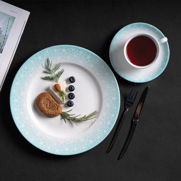 سرویس چینی زرین 12 نفره کامل ساکورا آبی (102 پارچه)