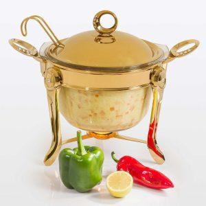سوفله سوپ خوری بزرگ تک استیل مدل نگین دار (طلایی براق)
