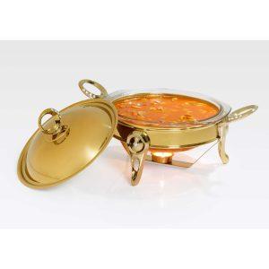 سوفله سوپ خوری کوچک تک استیل مدل نگین دار (طلایی براق)
