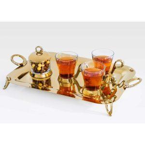 سرویس چایخوری تک استیل مدل نگین دار (طلایی براق)