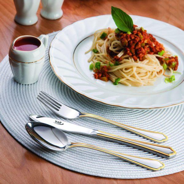 قاشق و چنگال غذاخوری 6 نفره ناب استیل طرح ونیز دور طلایی (12 پارچه)
