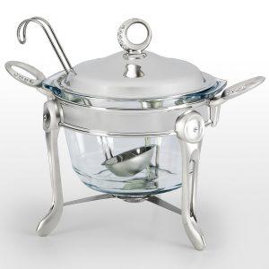 سوفله سوپ خوری بزرگ تک استیل مدل نگین دار (استیل)