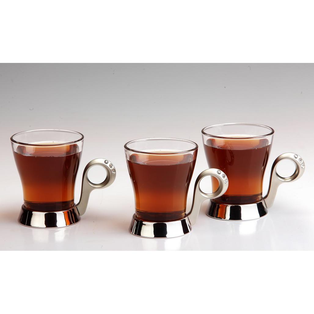 سرویس چایخوری تک استیل مدل نگین دار (استیل)