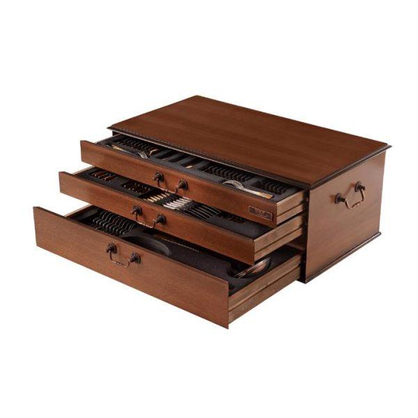 کنسول سرویس قاشق و چنگال 18 نفره ناب استیل (116 پارچه) - چوبی گردویی