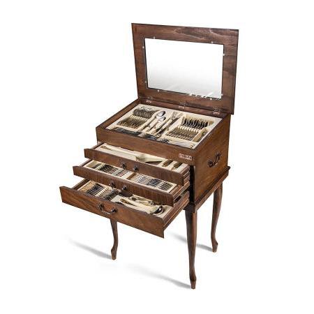 سرویس قاشق و چنگال ۲۴ نفره ناب استیل طرح فلورانس طلایی (۱۵۸ پارچه) بعلاوه کنسول چوبی