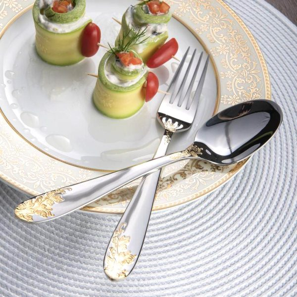 قاشق و چنگال غذاخوری 6 نفره ناب استیل طرح امپریال طلایی (12 پارچه)