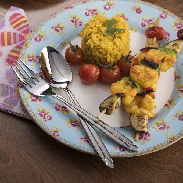 قاشق و چنگال غذاخوری 6 نفره ناب استیل طرح پالرمو استیل براق (12 پارچه)