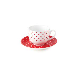 سرویس چینی زرین ۶ نفره چای خوری اسپاتی قرمز (۱۲ پارچه)