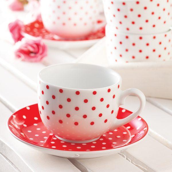 سرویس چینی زرین 6 نفره چای خوری اسپاتی قرمز (12 پارچه)