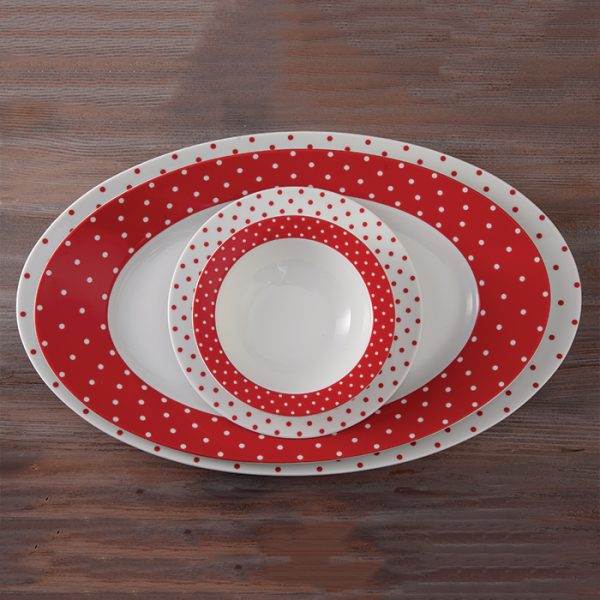 سرویس چینی زرین 6 نفره غذاخوری اسپاتی قرمز (28 پارچه)