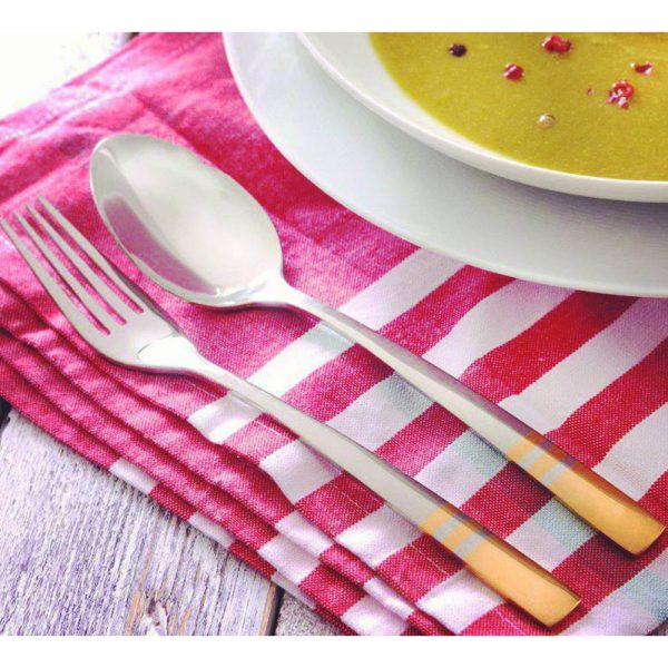 سرویس قاشق و چنگال 12 نفره ناب استیل طرح فلورانس دور طلایی (124 پارچه) بعلاوه کنسول چوبی