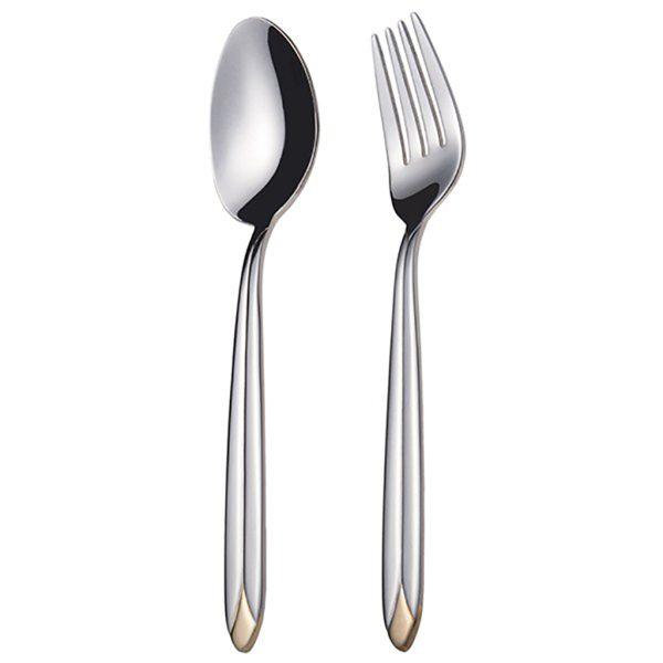 قاشق و چنگال غذاخوری 6 نفره ناب استیل طرح پالرمو دور طلایی (12 پارچه)