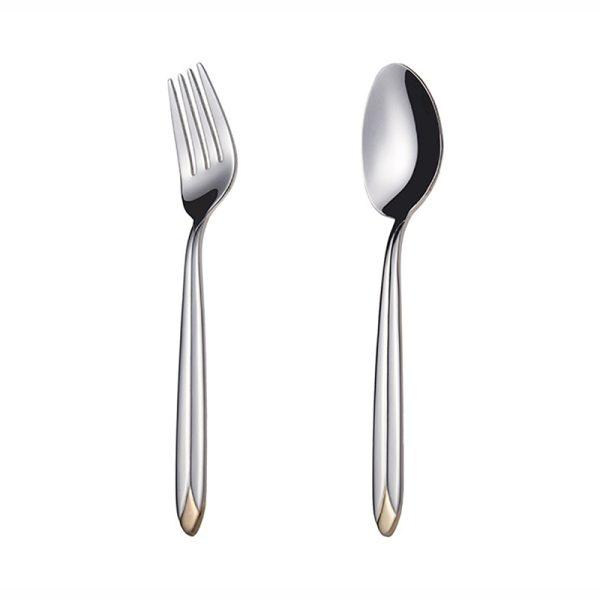 قاشق و چنگال غذاخوری ناب استیل طرح پالرمو دور طلایی