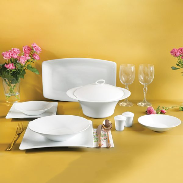 سرویس چینی زرین 12 نفره کامل سفید وینچی الیسه (97 پارچه)