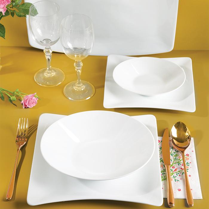 سرویس چینی زرین ۱۲ نفره کامل سفید وینچی الیسه (۹۷ پارچه)