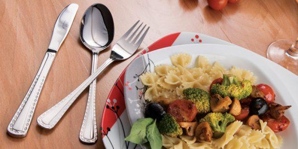 قاشق و چنگال غذاخوری 6 نفره ناب استیل طرح برلین استیل براق (12 پارچه)