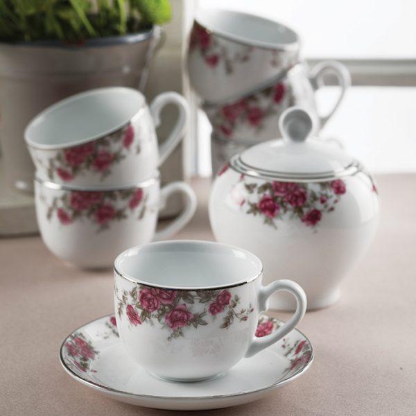 سرویس چینی زرین 6 نفره چای خوری آران (14 پارچه)