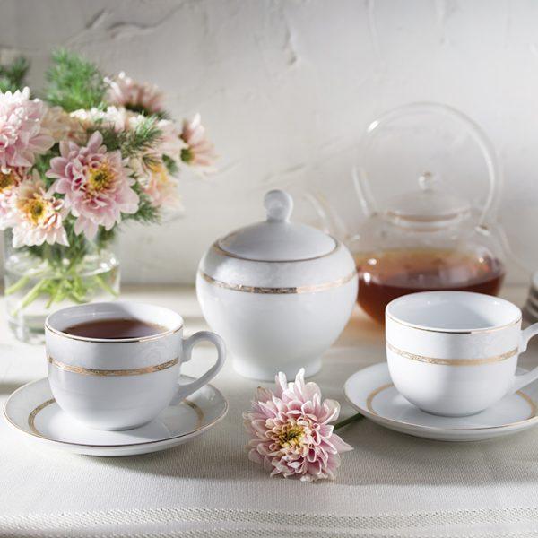 سرویس چینی زرین 6 نفره چای خوری هدیه طلایی (14 پارچه)