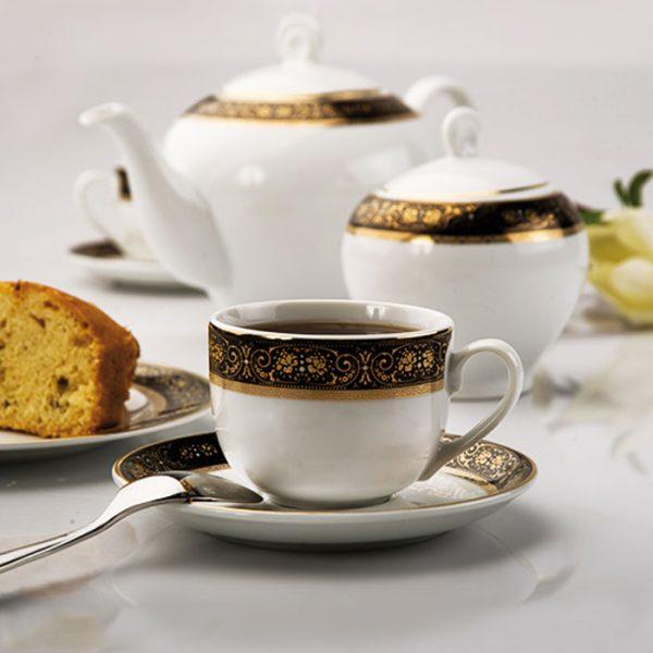 سرویس چینی زرین 6 نفره چای خوری میدنایت (17 پارچه)