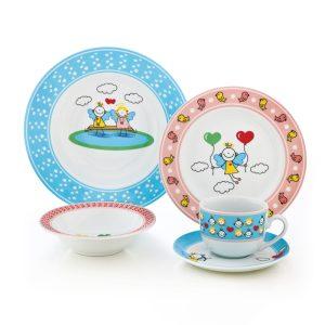 سرویس چینی زرین ۱ نفره کودک پریا آبی و صورتی (۵ پارچه)