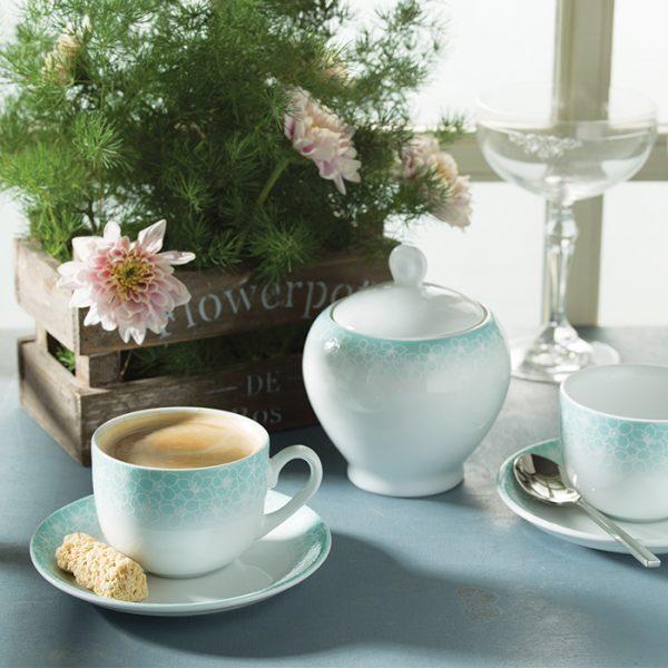 سرویس چینی زرین 6 نفره چای خوری ساکورا آبی (14 پارچه)