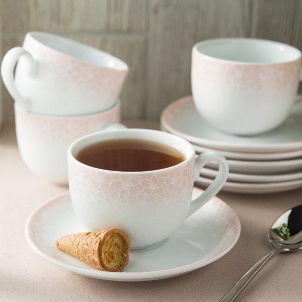 سرویس چینی زرین 6 نفره چای خوری ساکورا صورتی (14 پارچه)
