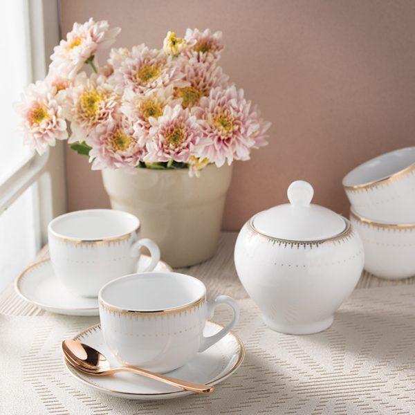 سرویس چینی زرین 6 نفره چای خوری سپیدار (14 پارچه)