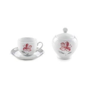 سرویس چینی زرین ۶ نفره چای خوری والنسیا قرمز (۱۴ پارچه)