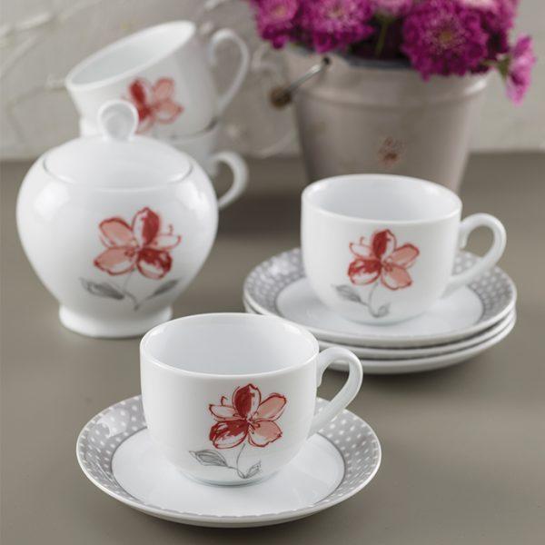 سرویس چینی زرین 6 نفره چای خوری والنسیا قرمز (14 پارچه)
