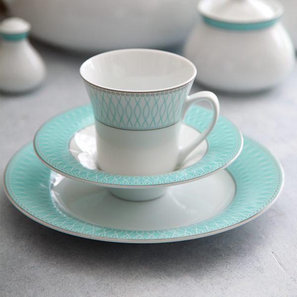 سرویس چینی زرین 6 نفره چای خوری ژانتی فیروزه ای (12 پارچه)
