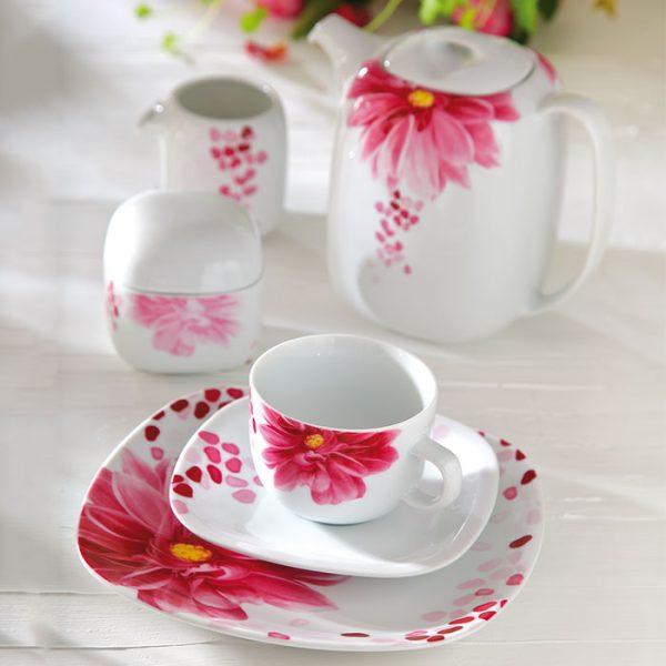 سرویس چینی زرین 6 نفره چای خوری آنجلیکا (17 پارچه)