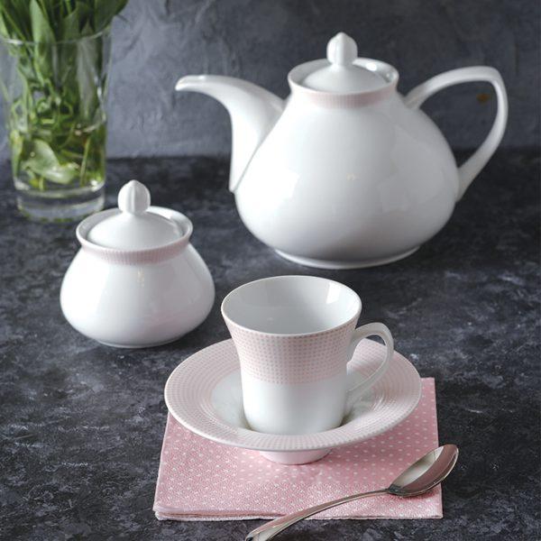 سرویس چینی زرین 6 نفره چای خوری مریدین صورتی (18 پارچه)