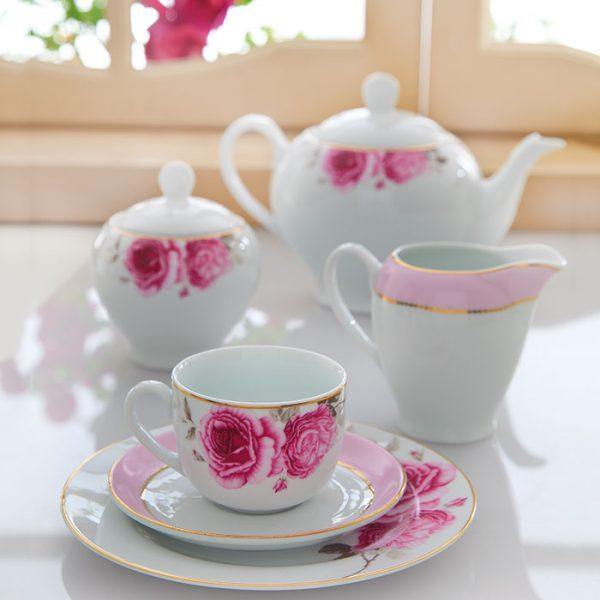 سرویس چینی زرین 6 نفره چای خوری رزفلاور (17 پارچه)