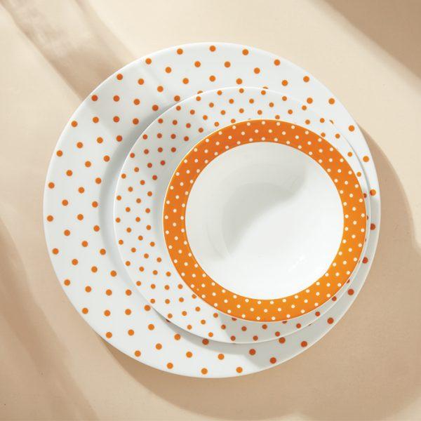 سرویس چینی زرین 6 نفره غذاخوری اسپاتی نارنجی (28 پارچه)