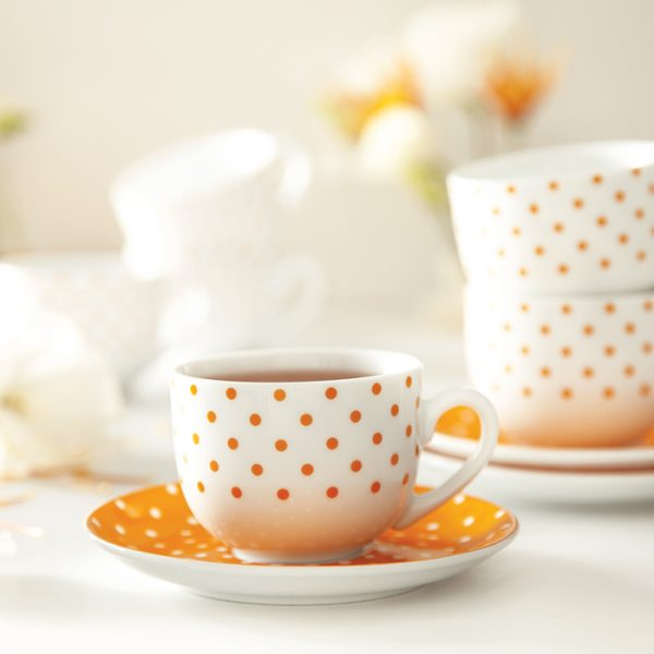 سرویس چینی زرین 6 نفره چای خوری اسپاتی نارنجی (12 پارچه)