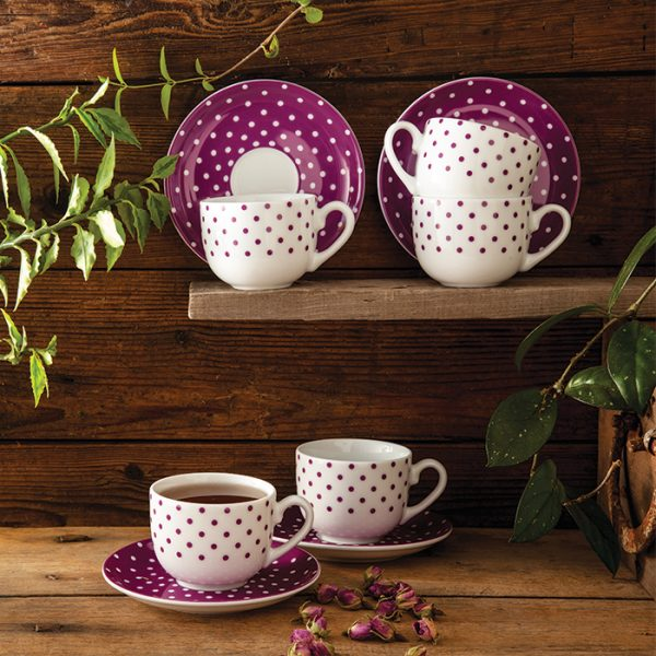 سرویس چینی زرین 6 نفره چای خوری اسپاتی بنفش (12 پارچه)
