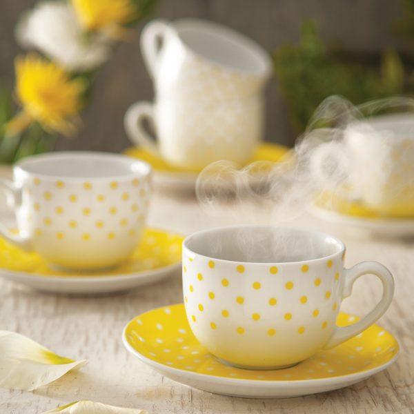 سرویس چینی زرین 6 نفره چای خوری اسپاتی زرد (12 پارچه)