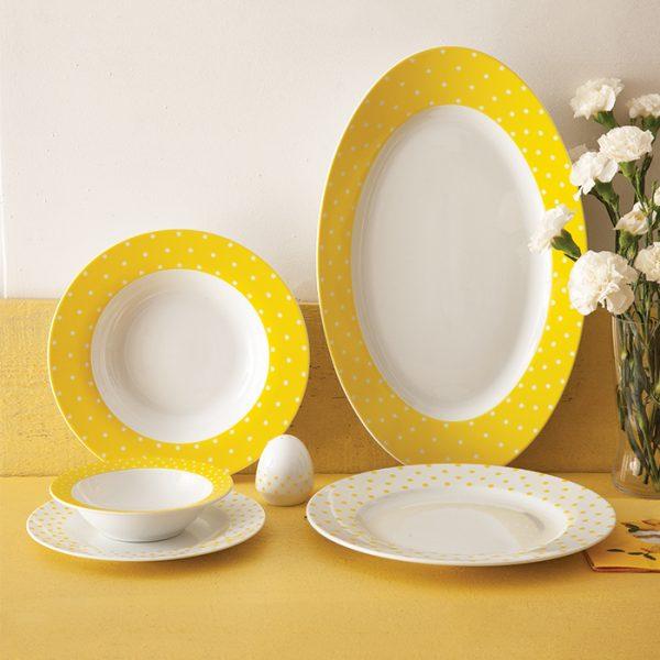 سرویس چینی زرین 6 نفره غذاخوری اسپاتی زرد (28 پارچه)